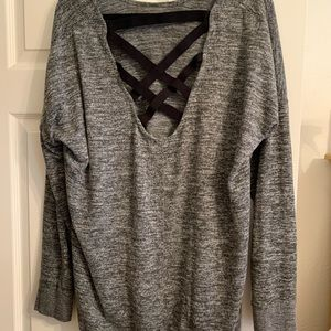 Flirtitude Grey & Black Strap Back Tunic